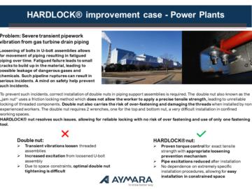 HARDLOCK® improvement case – Power Plants