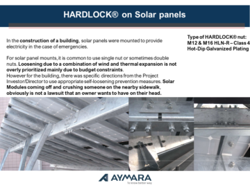 HARDLOCK® nut on Solar panels